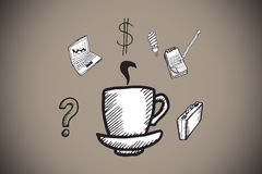 Composite image of cup of coffee doodle with business icons Stock Photography