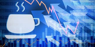 Composite image of cup of hot coffee. Cup of hot coffee against stocks and shares Royalty Free Stock Photography