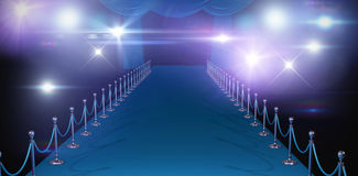 Composite image of curtains of blue color. 3d Curtains of blue color against stage light against black background Stock Photography