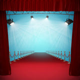 Composite image of curtains of red color. 3d Curtains of red color  against image of spotlight Stock Image