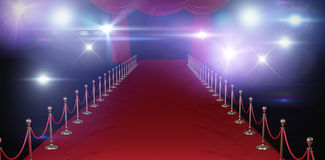 Composite image of curtains of red color. 3d Curtains of red color  against stage light against white background Royalty Free Stock Photo