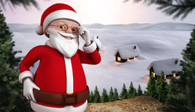 Composite image of cute cartoon santa claus Royalty Free Stock Photos