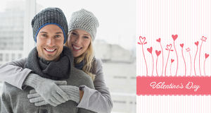 Composite image of cute couple in warm clothing hugging smiling at camera Stock Images