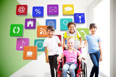 Composite image of cute disabled pupil smiling at camera with her friends Royalty Free Stock Photos