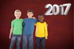 Composite image of cute kids smiling vector illustration