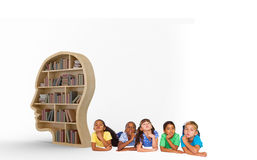 Composite image of cute kids thinking. Cute kids thinking against books in brown human face bookshelves royalty free stock image
