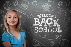 Composite image of cute pupil with chalkboard royalty free stock images