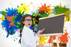 Composite image of cute pupil with chalkboard Stock Image
