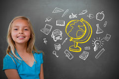 Composite image of cute pupil with chalkboard stock images