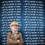 Composite image of cute pupil dressed up as teacher. Cute pupil dressed up as teacher  against blue chalkboard Royalty Free Stock Image