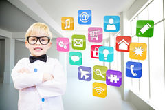 Composite image of cute pupil dressed up as teacher. Cute pupil dressed up as teacher against computing application icons Stock Photos