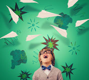 Composite image of cute pupil dressed up as teacher. Cute pupil dressed up as teacher against paper airplane graphic Royalty Free Stock Photos