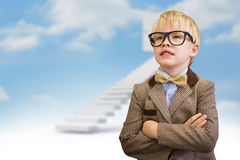 Composite image of cute pupil dressed up as teacher. Cute pupil dressed up as teacher  against steps leading to open door in the sky Stock Images