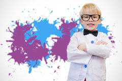 Composite image of cute pupil dressed up as teacher Stock Photos