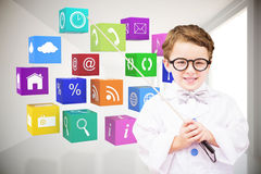 Composite image of cute pupil in lab coat Royalty Free Stock Image