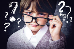 Composite image of cute pupil pretending to be teacher Stock Photo