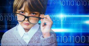 Composite image of cute pupil pretending to be teacher Royalty Free Stock Photography