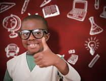 Composite image of cute pupil with thumbs up Stock Photos
