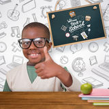 Composite image of cute pupil with thumbs up Royalty Free Stock Photography
