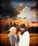 Composite image of cute smiling couple holding hands Stock Photography