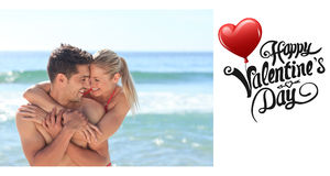 Composite image of cute valentines couple Royalty Free Stock Photo