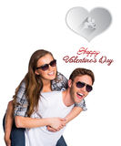 Composite image of cute valentines couple royalty free stock photos