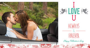 Composite image of cute valentines couple. Young couple smooching on the backseat against i love you message Stock Photo