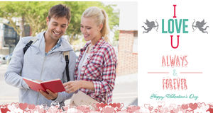 Composite image of cute valentines couple Stock Images