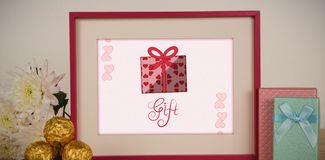 Composite image of Cute Valentines Day message in Frame vector illustration