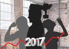 Composite image of 3D 2017 as growth graph with silhouette of people Stock Images