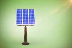Composite image of 3d blue solar panel. 3D blue solar panel against green vignette Royalty Free Stock Photos