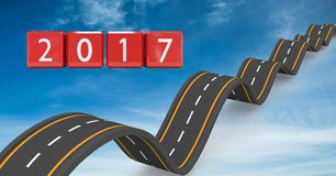 2017 on composite image 3D of bumpy roads Stock Image