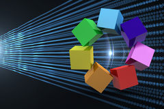 Composite image of 3d colourful cubes in a circle. 3d colourful cubes in a circle against abstract shiny lines on black background Royalty Free Stock Images