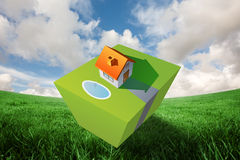 Composite image of 3d house and garden Royalty Free Stock Photo