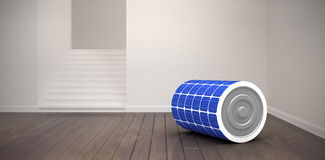 Composite image of 3d illustration of blue solar battery. 3d illustration of blue solar battery against empty room Stock Photo