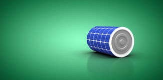 Composite image of 3d illustration of blue solar battery. 3d illustration of blue solar battery against green vignette Royalty Free Stock Image