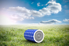 Composite image of 3d illustration of blue solar battery. 3d illustration of blue solar battery against sunny landscape Stock Photography