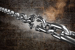 Composite image of 3d illustration of damaged silver chain. 3d illustration of damaged silver chain  against image of a wall Royalty Free Stock Photo