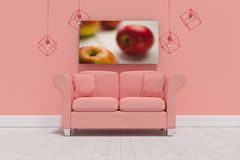 Composite image of 3d illustration of empty coral sofa with cushions. 3d illustration of empty coral sofa with cushions against red apples on table Stock Images