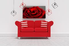 Composite image of 3d illustration of empty red sofa with cushions. 3d illustration of empty red sofa with cushions against red rose Royalty Free Stock Image