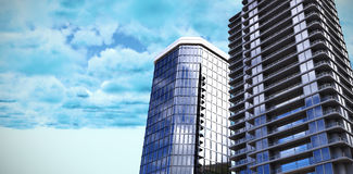 Composite image of 3d illustration of glass buildings Royalty Free Stock Image