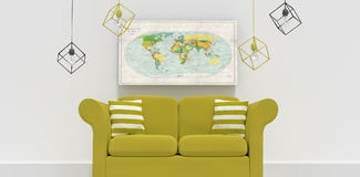 Composite image of 3d illustration of green sofa with cushions. 3d illustration of green sofa with cushions against close-up of directional map Royalty Free Stock Image