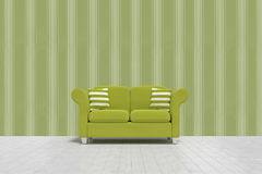 Composite image of 3d illustration of green sofa with cushions on floor Royalty Free Stock Photos