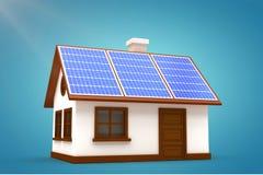 Composite image of 3d illustration of house with solar panels. 3d illustration of house with solar panels against blue vignette background Royalty Free Stock Photo