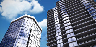 Composite image of 3d illustration of modern buildings. 3d illustration of modern buildings against low angle view of white cloud against sky Royalty Free Stock Photos