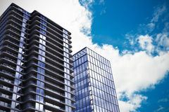 Composite image of 3d illustration of modern buildings Royalty Free Stock Image