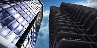 Composite image of 3d illustration of office buildings Stock Photo