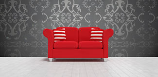 Composite image of 3d illustration of red sofa with cushions. 3d illustration of red sofa with cushions against elegant patterned wallpaper in grey Stock Image