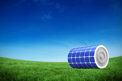 Composite image of 3d illustration of solar battery. 3d illustration of solar battery against green field under blue sky Stock Photos