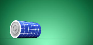 Composite image of 3d illustration of solar battery. 3d illustration of solar battery against green vignette Royalty Free Stock Image
